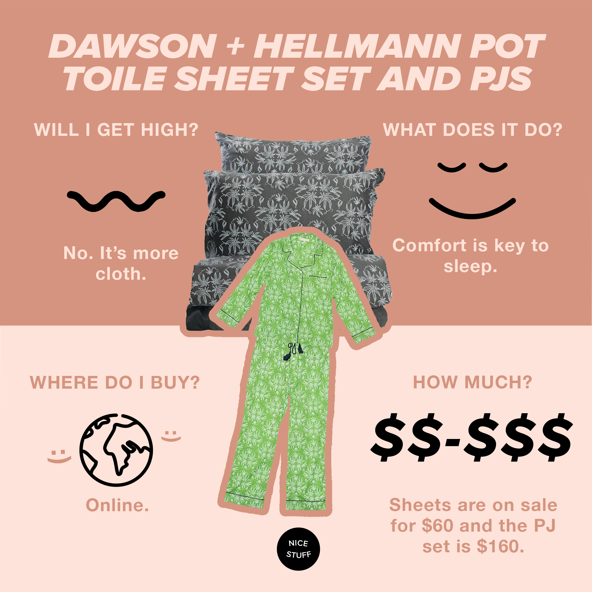 Dawson + Hellmann Pot Toile Sheet Set and PJs - Promise we're getting to the actual weed. This PJ and sheet set is something we've been coveting for quite some time. As nice things come to those that wait, the sheet set is only $60, double dream(y).