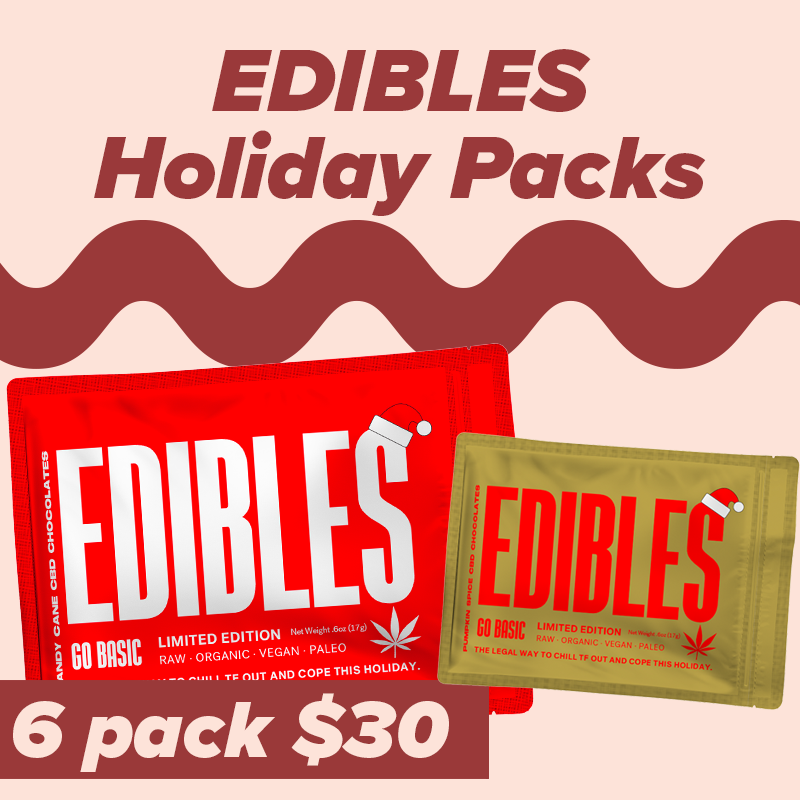 """Go Basic - Made with the most basic ingredients, Go Basic's """"Edibles"""" have 10mg of CBD per packet and are perfect to pack for a pick me up at the end of your workday or, who are we kidding, as an appetizer to your breakfast. With two new holiday flavors—Pumpkin Spice and Candy Cane—feel chill and merry with chocolate."""