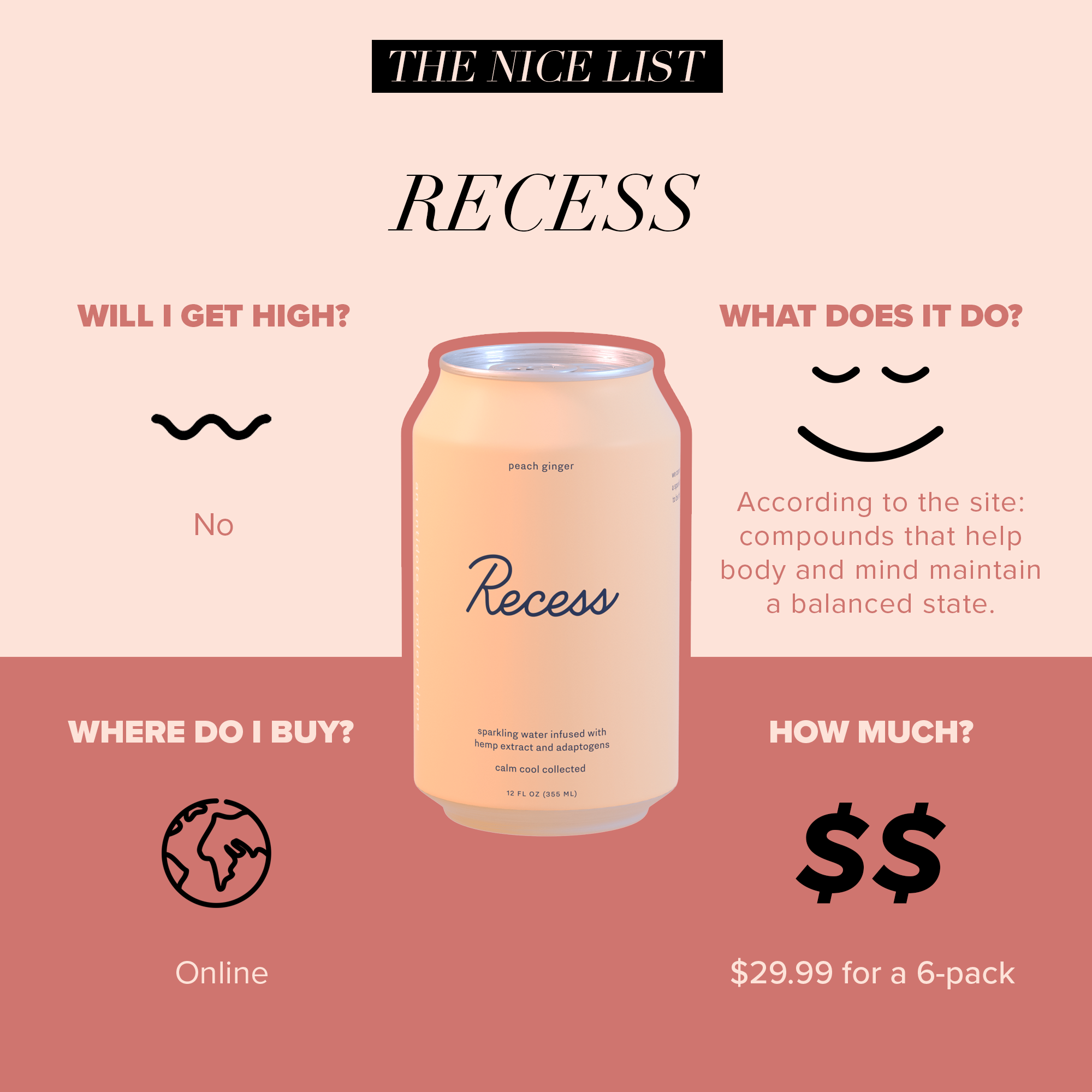 "#4: Recess - Instagram darling @takearecess is more than your dream moodboard, they make delicious drinks that help you take a break that doesn't involve a vat of coffee. Each drink has 10mg of full spectrum hemp oil, 200mg of Ginseng, 130mg of L-theanine, and 200mg of Schisandra with flavors like Peach Ginger, Pom Hibiscus, and Blackberry Chai. After a few sips you'll be thinking ""LaCroix who?"""