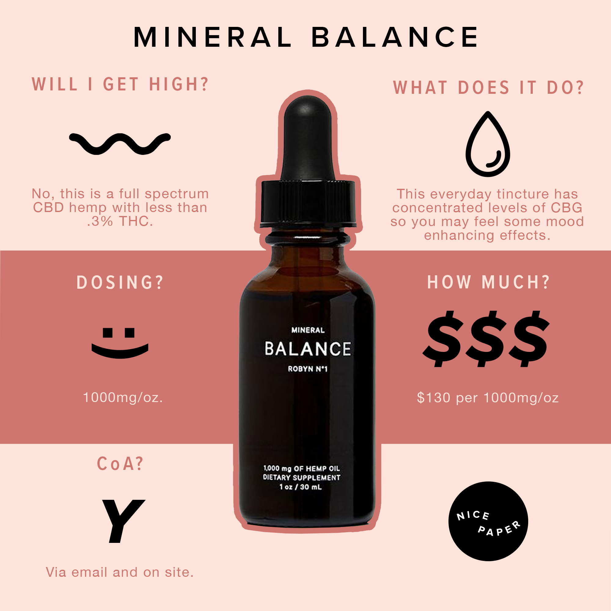 Mineral Balance - A cannabinoid-dense formula with concentrated amounts of CBD and CBG, BALANCE is elevated by terpenes known for improving mood and relieving stress. Recommended dosage is between 4-16mg.