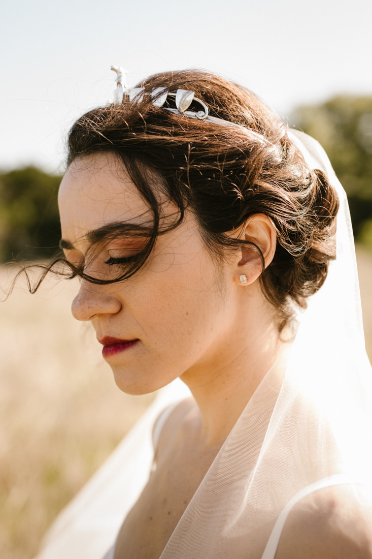 Bride wearing a crown
