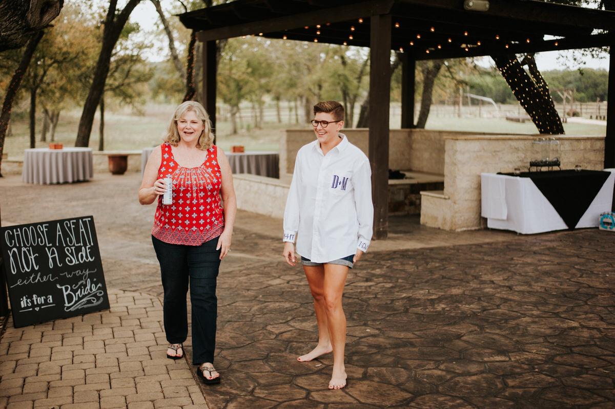 Same sex brides getting ready for Ranch Austin wedding