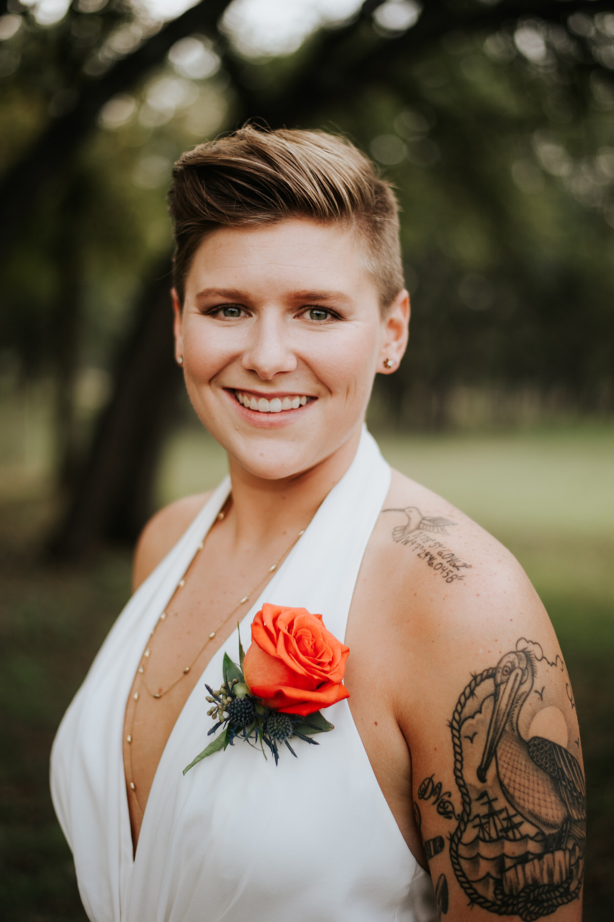 Bride in jumpsuit at Ranch Austin wedding