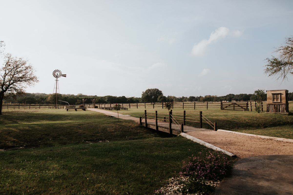 Large empty field at Ranch Austin wedding venue