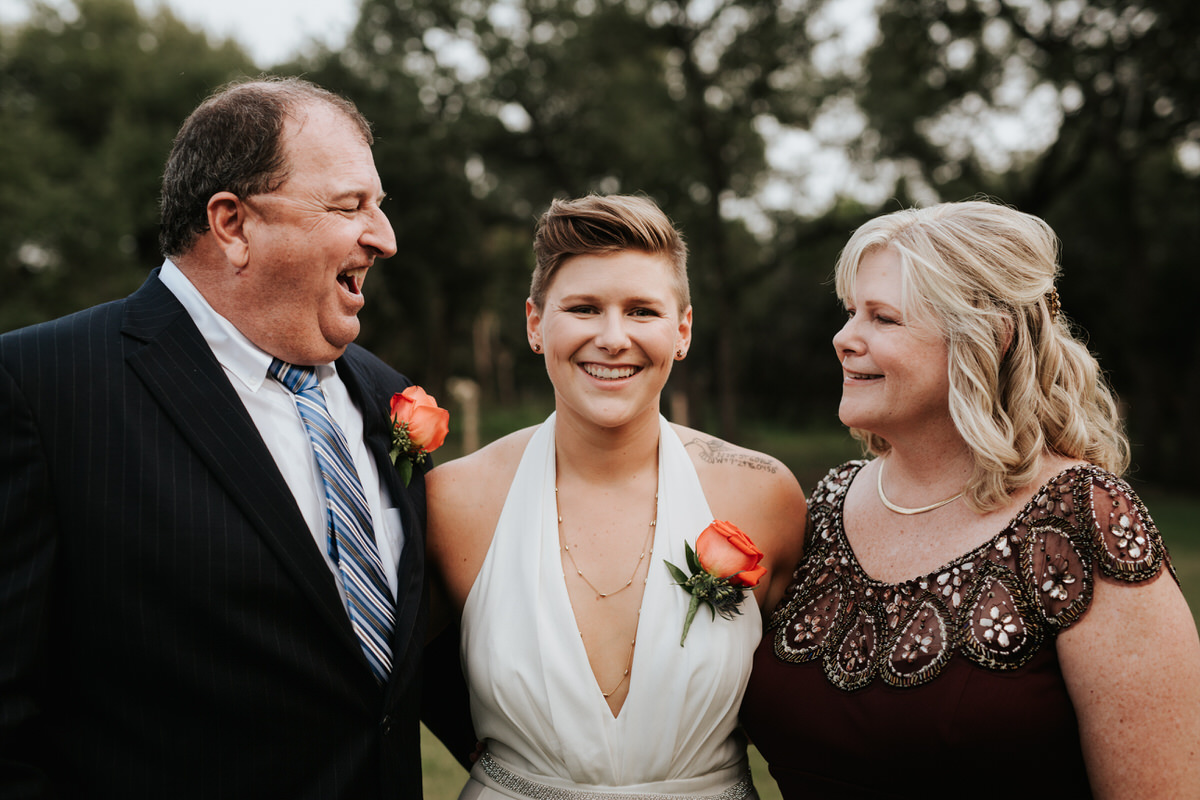 Bride with her parents at Ranch Austin wedding