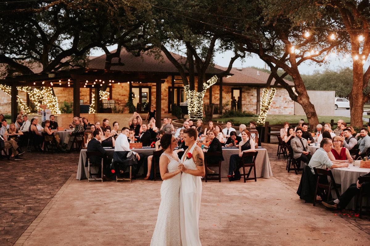 Texas brides dancing at Ranch Austin wedding