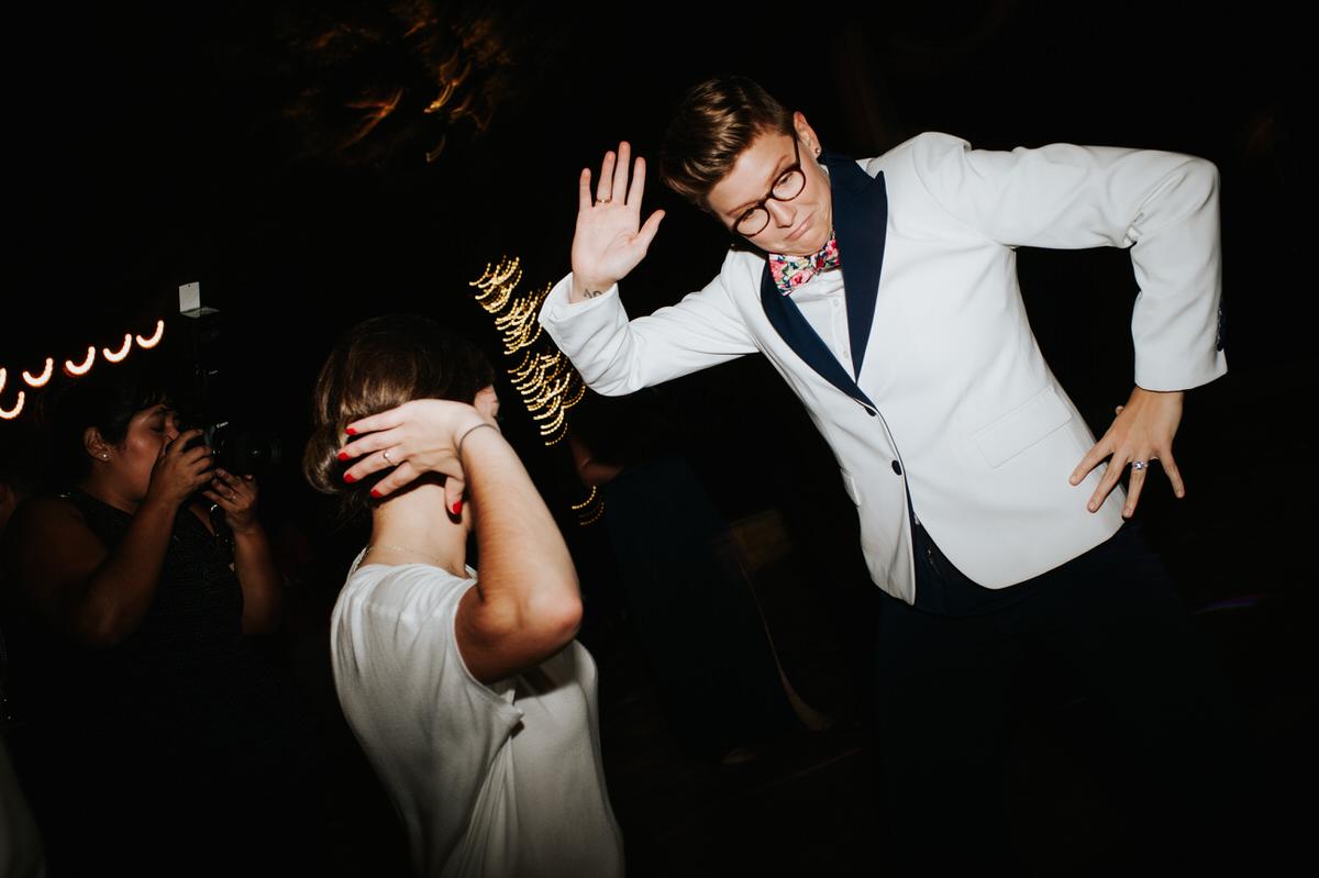 Wedding guests dancing at Ranch Austin wedding