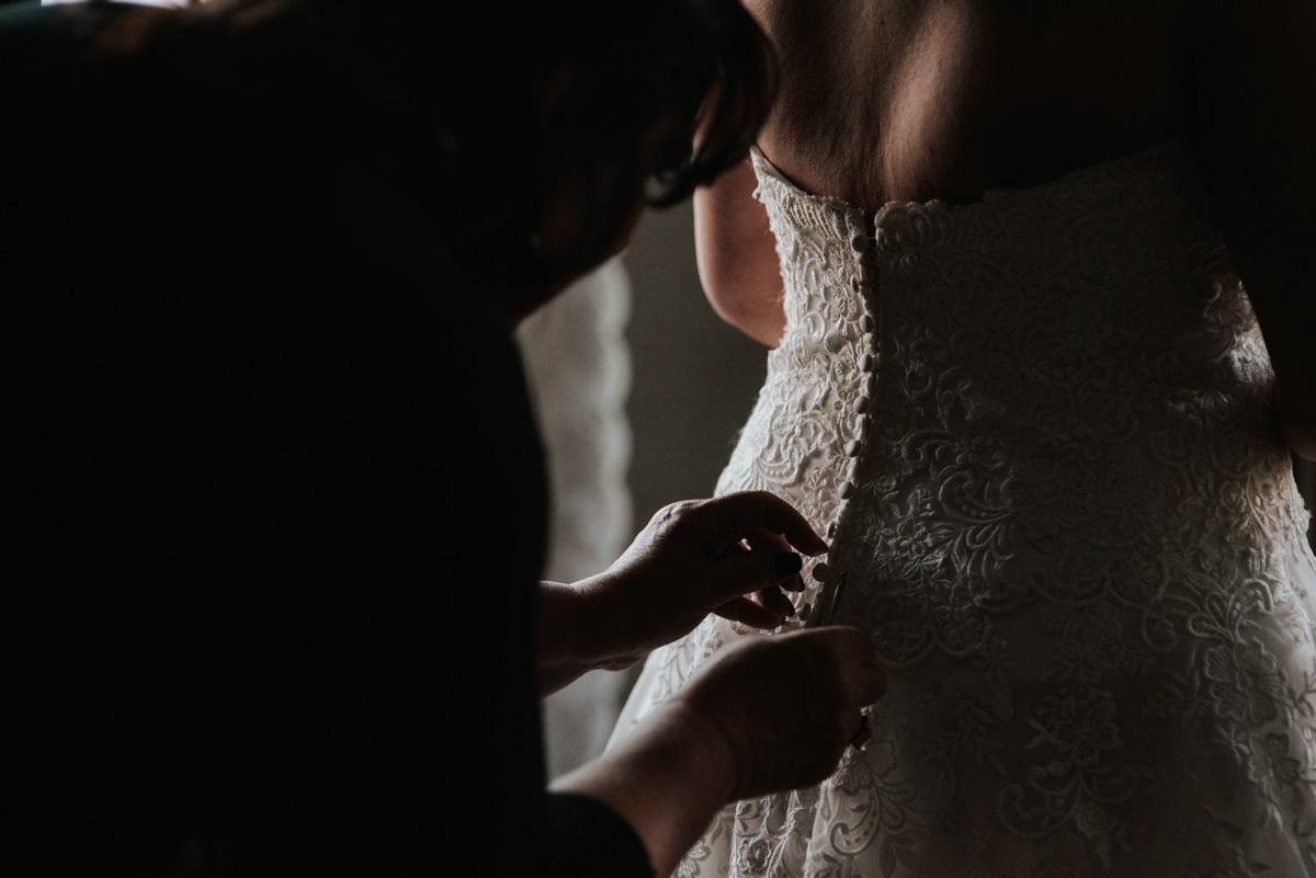 Bride getting ready for wedding