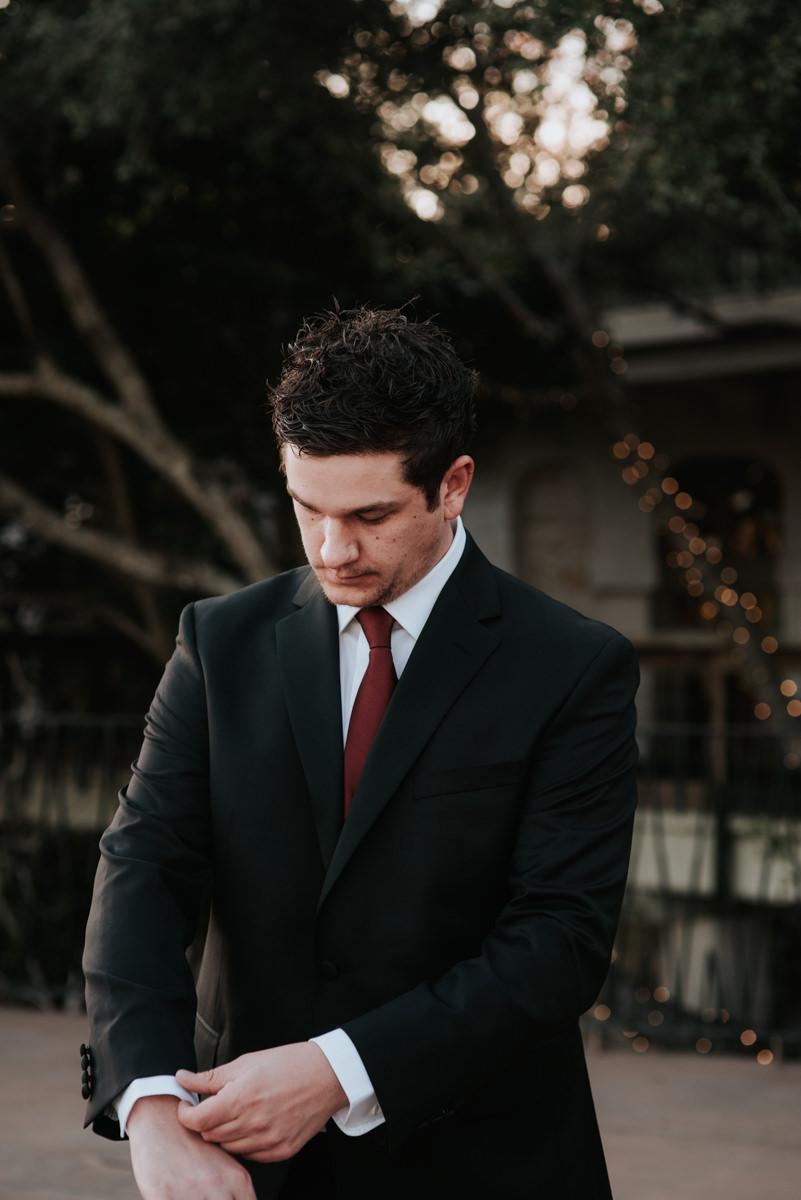 Groom outside before wedding