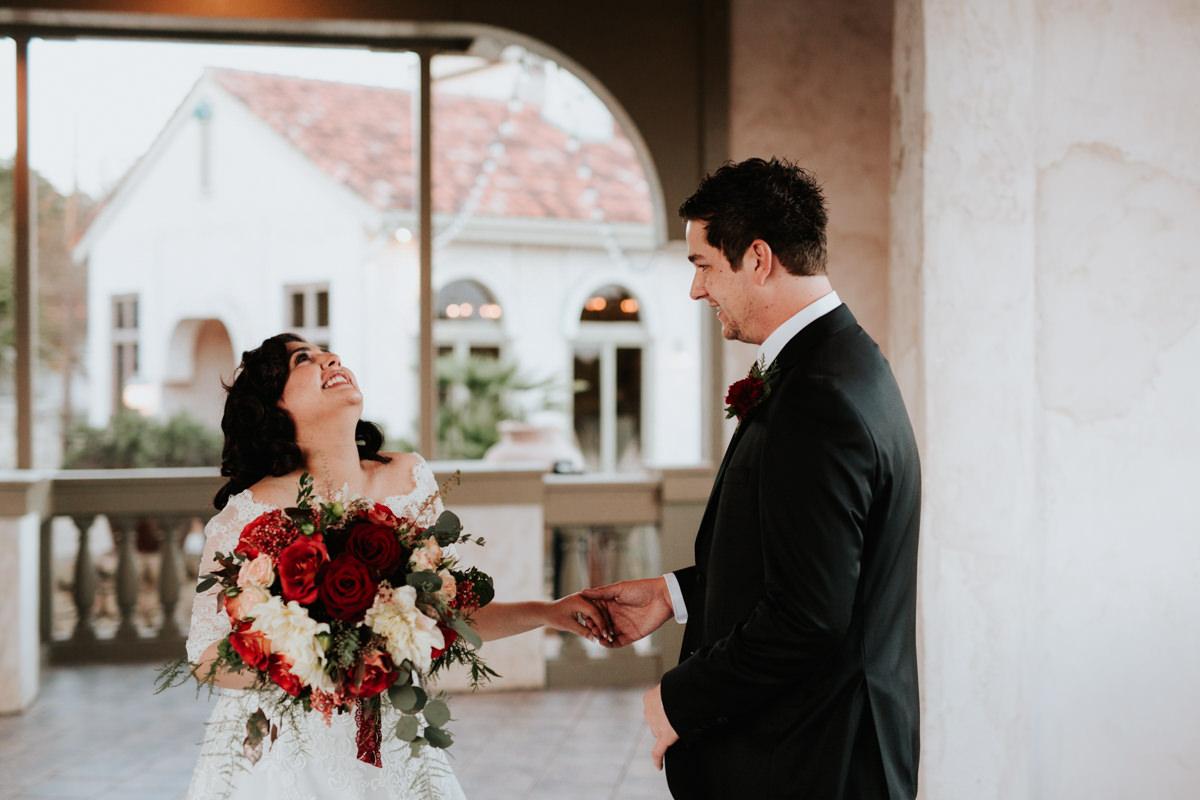 Bride and groom before Christmas wedding