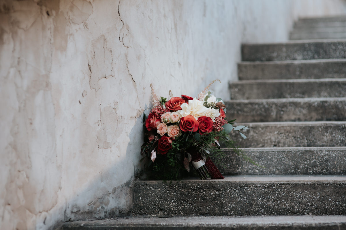 Wedding bouquet on outdoor staircase