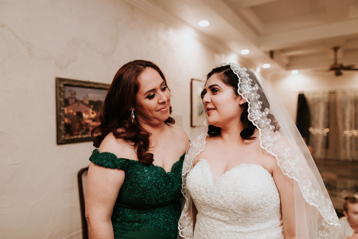 Bride talking before wedding