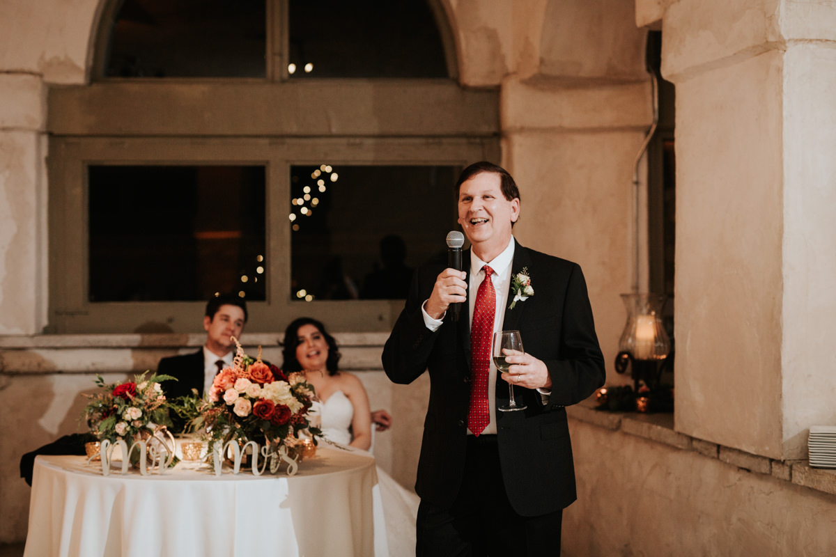Guest giving a wedding toast