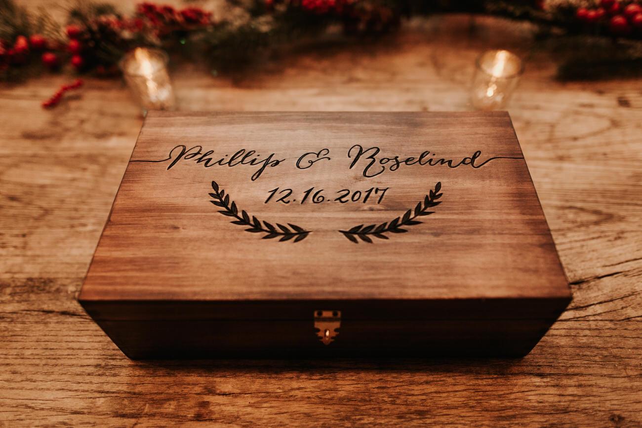 Engraved wedding box