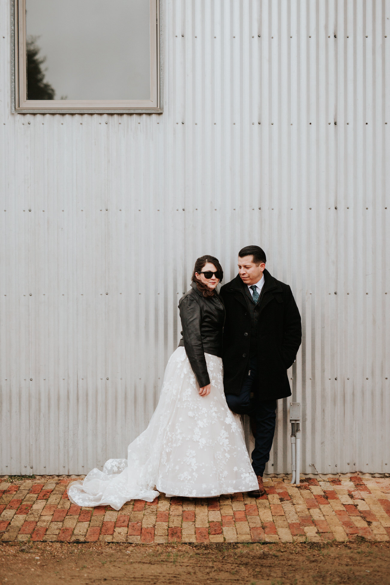 Edgy chic bride and groom