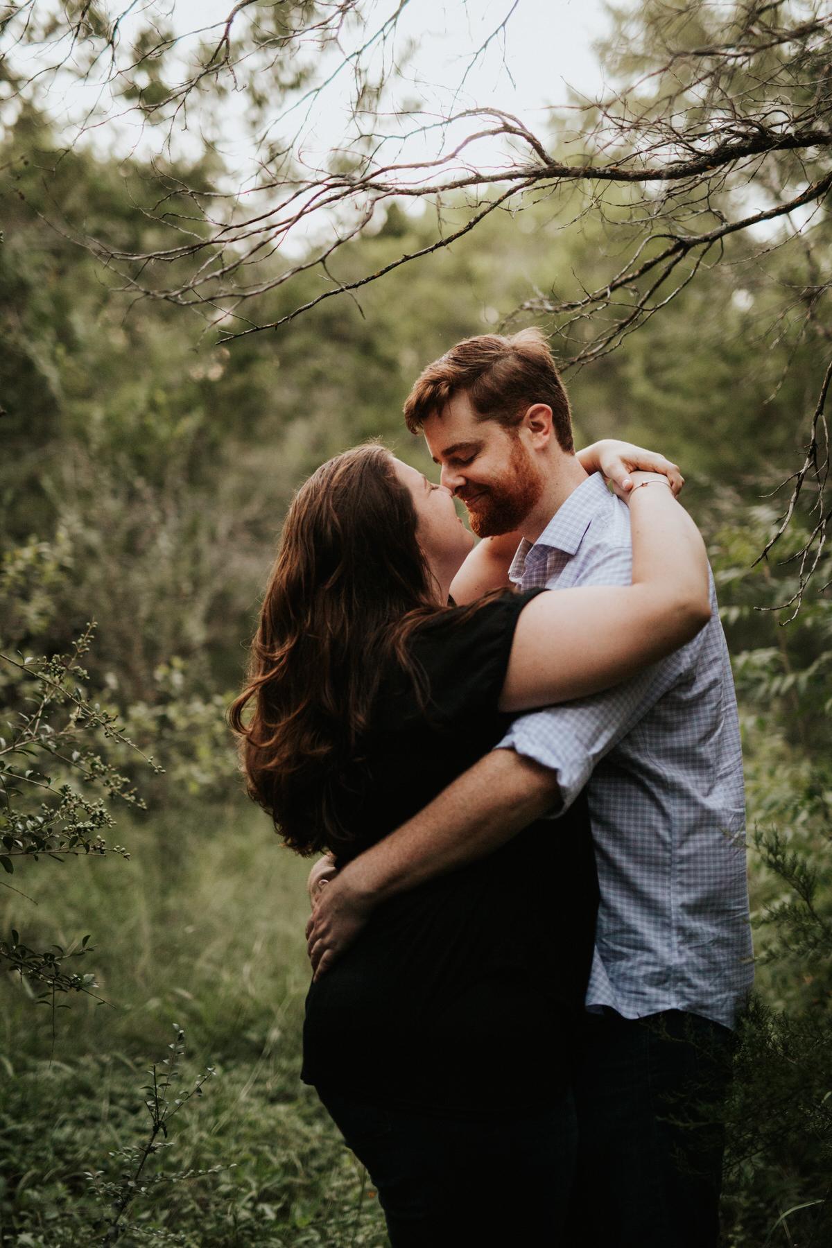 Happy couple hugging
