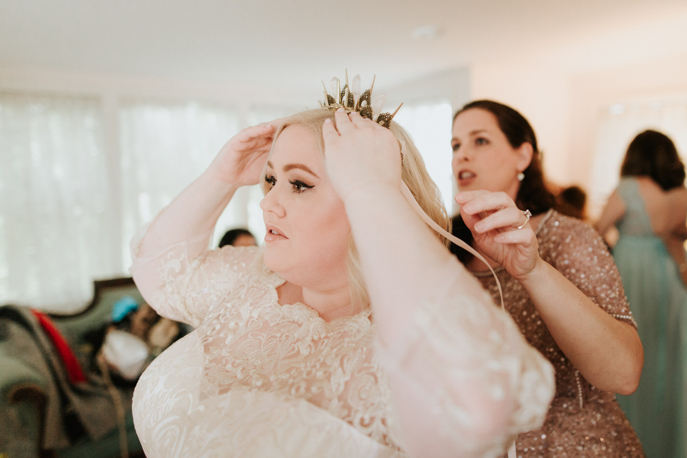 Bride getting ready for her Pecan Springs Ranch Austin wedding