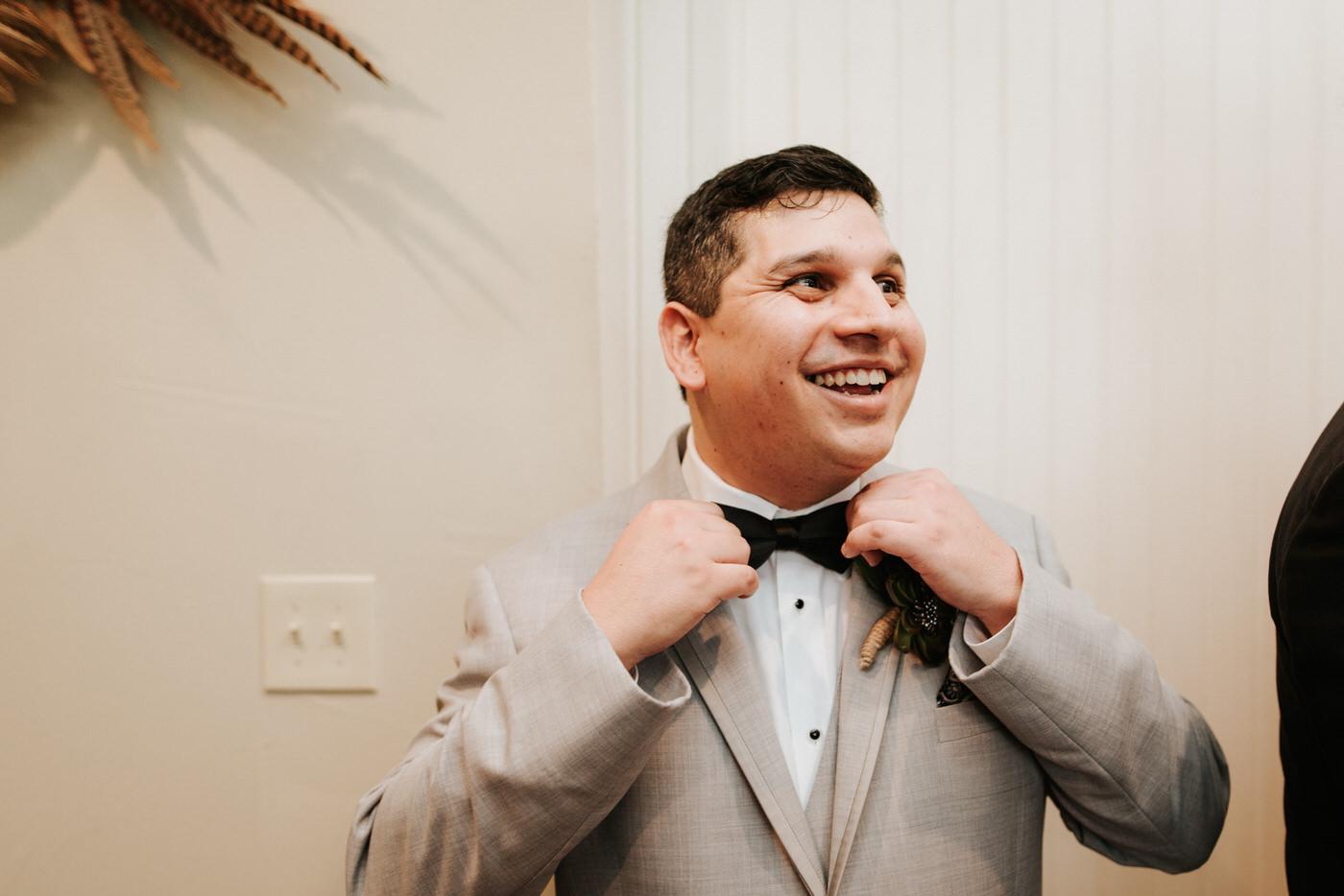 Excited groom at Pecan Springs Ranch Wedding