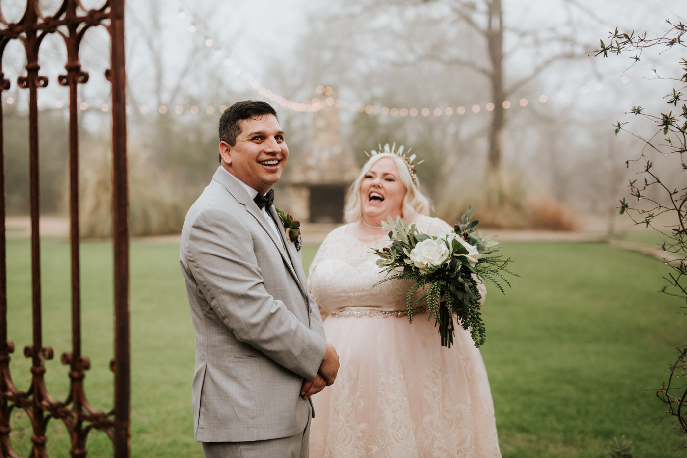 Happy couple's first look at their wedding in Austin, Texas