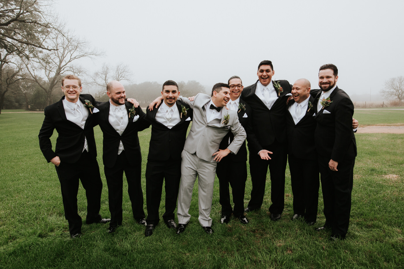 Groom and wedding party at Austin wedding