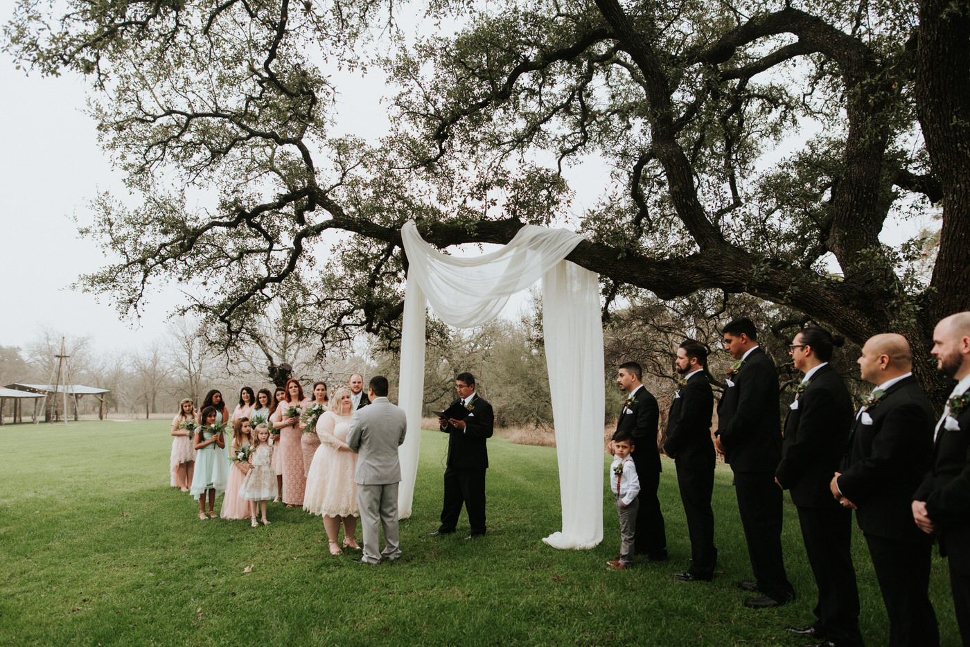 Couple getting married at Pecan Springs Ranch