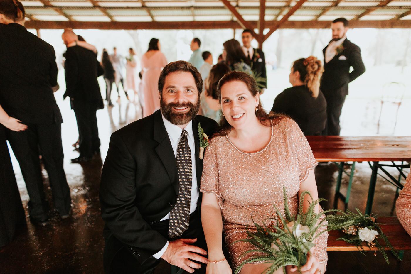 Wedding guests at Pecan Springs Ranch