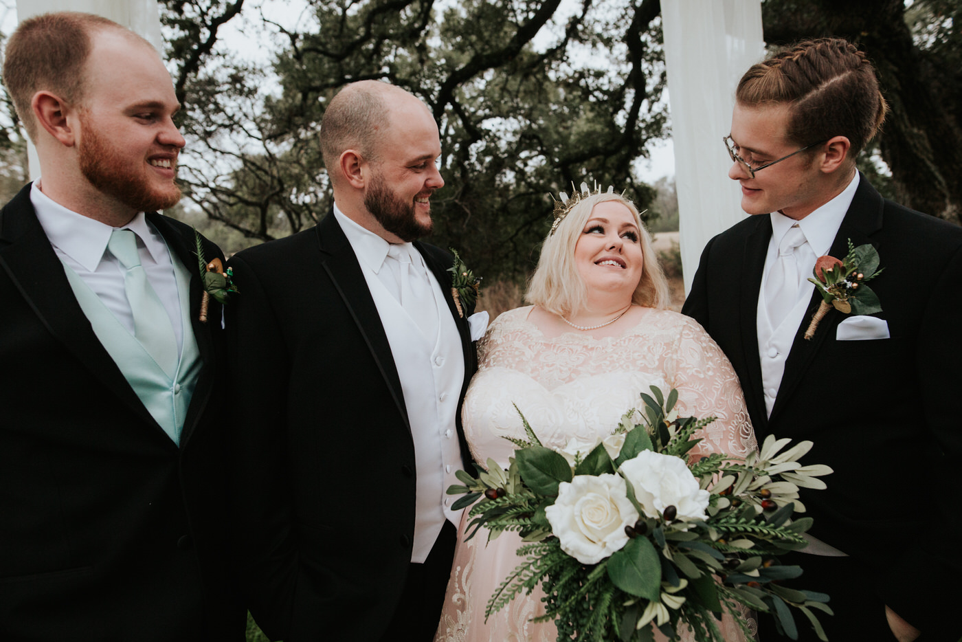 Bride with wedding guests at Austin wedding