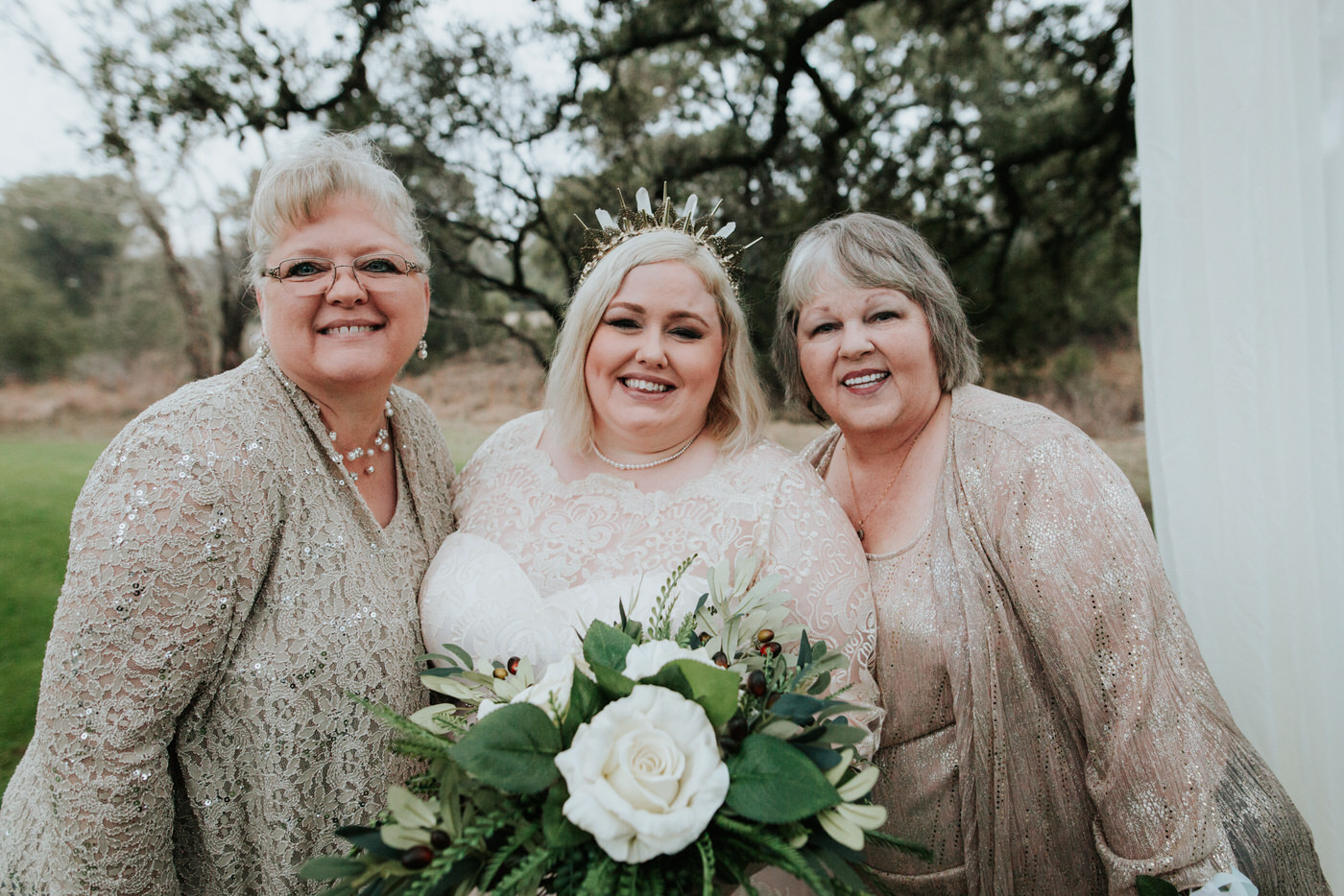 Bride with family at Austin wedding