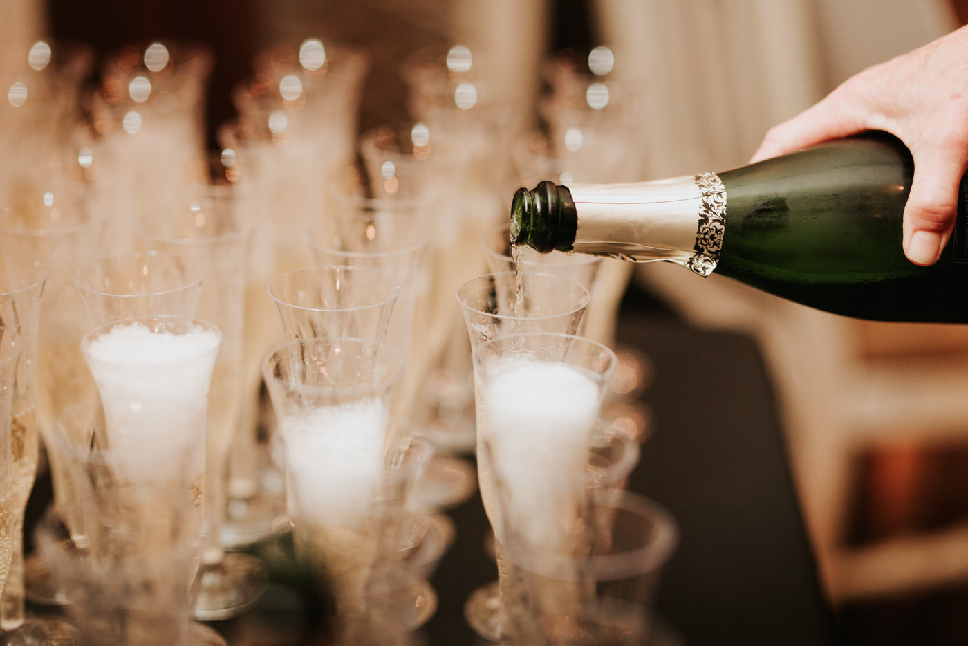 Champagne at Pecan Springs Ranch wedding