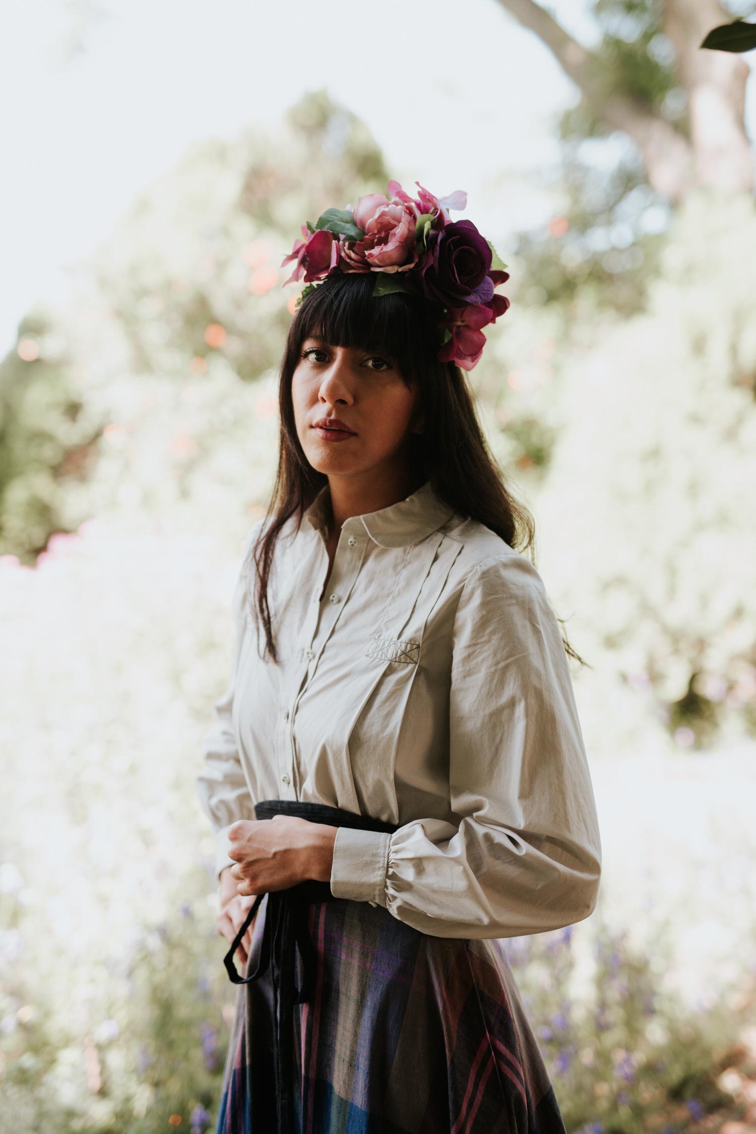 Model in vintage with flower crown