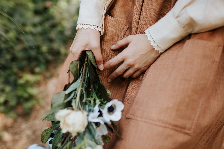 Vintage jumper and flower bouquet