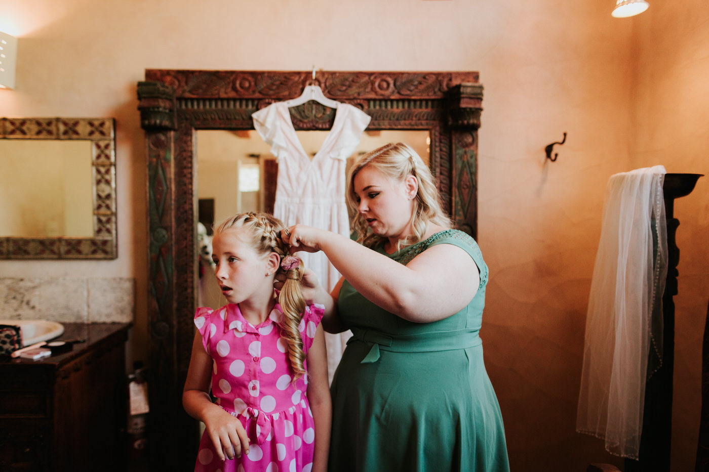 Bride getting ready at Chapel Dulcinea