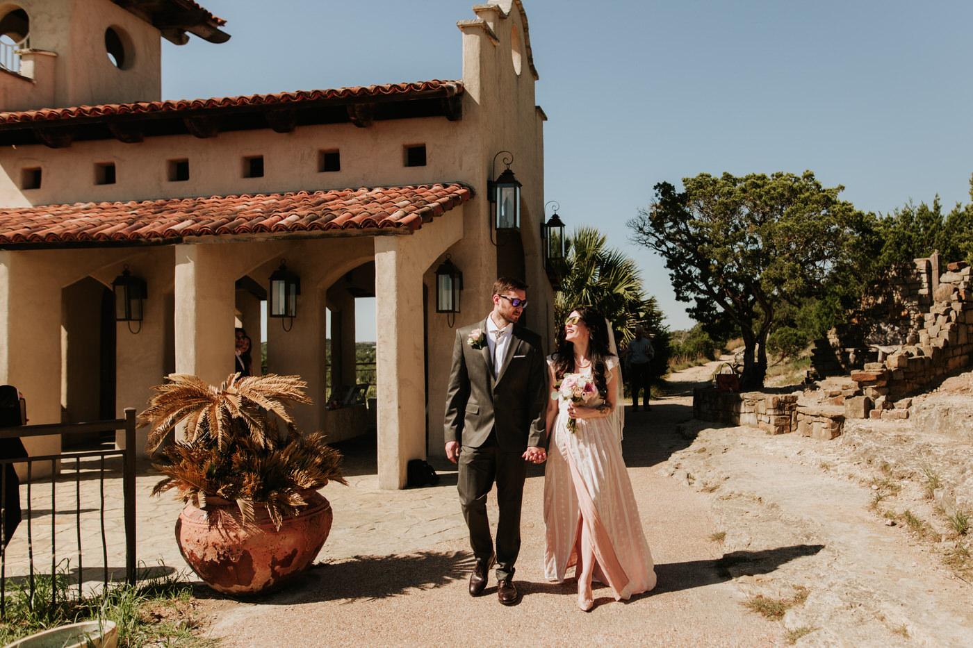 Bride and groom getting married at Chapel Dulcinea