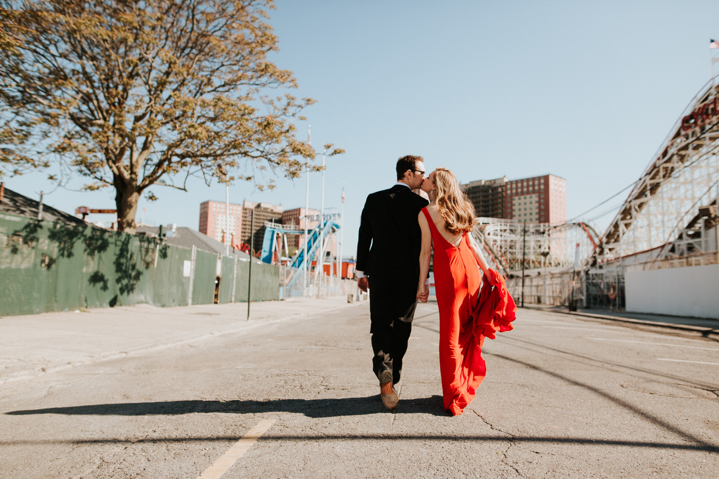 Elegant engaged couple at Coney Island