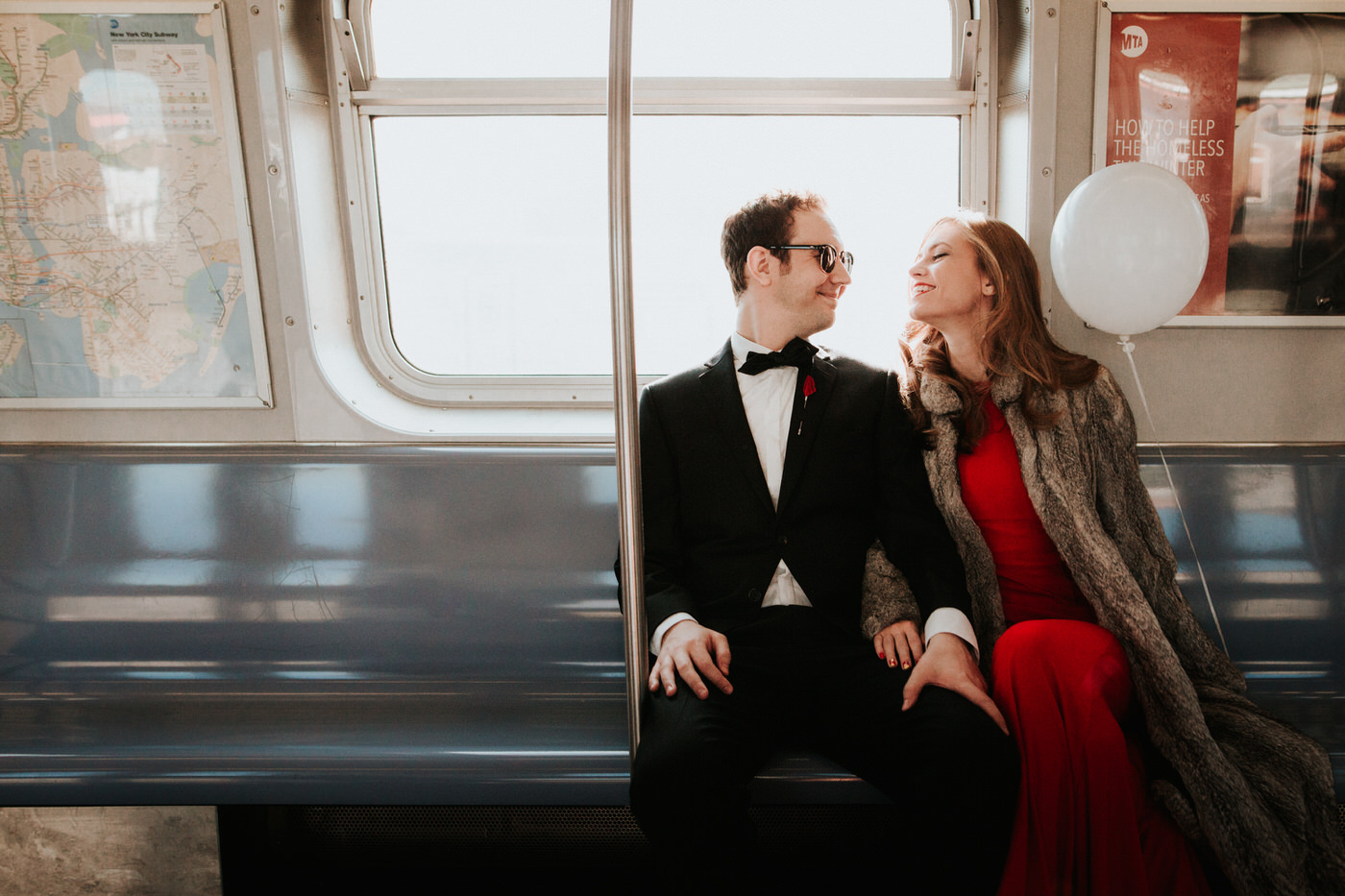 Chic New York City subway engagement session