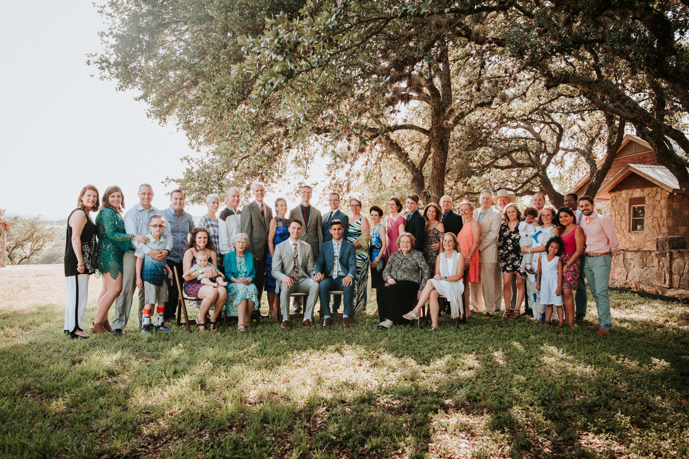 Family portrait at River House at Pedernales