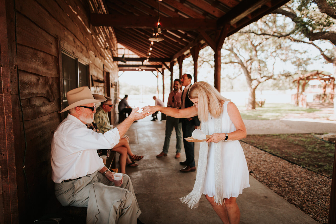 Wedding guests at Texas hill country wedding