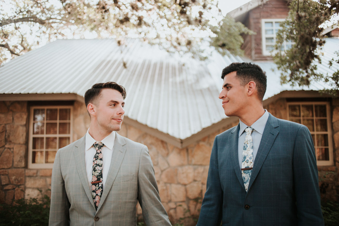 Grooms at Texas hill country wedding