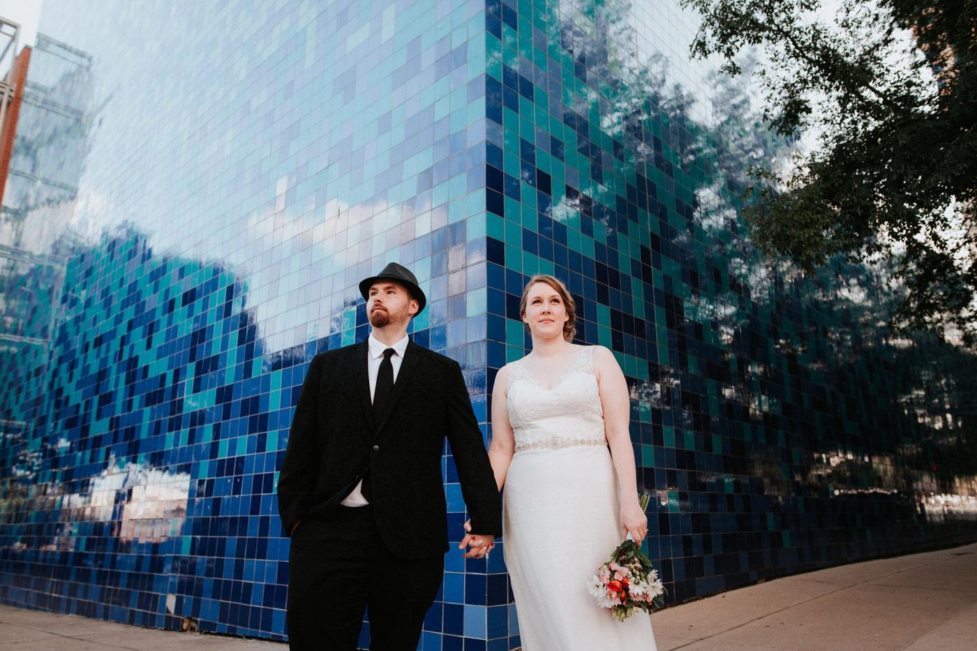 Bride and groom at Chapel Dulcinea wedding