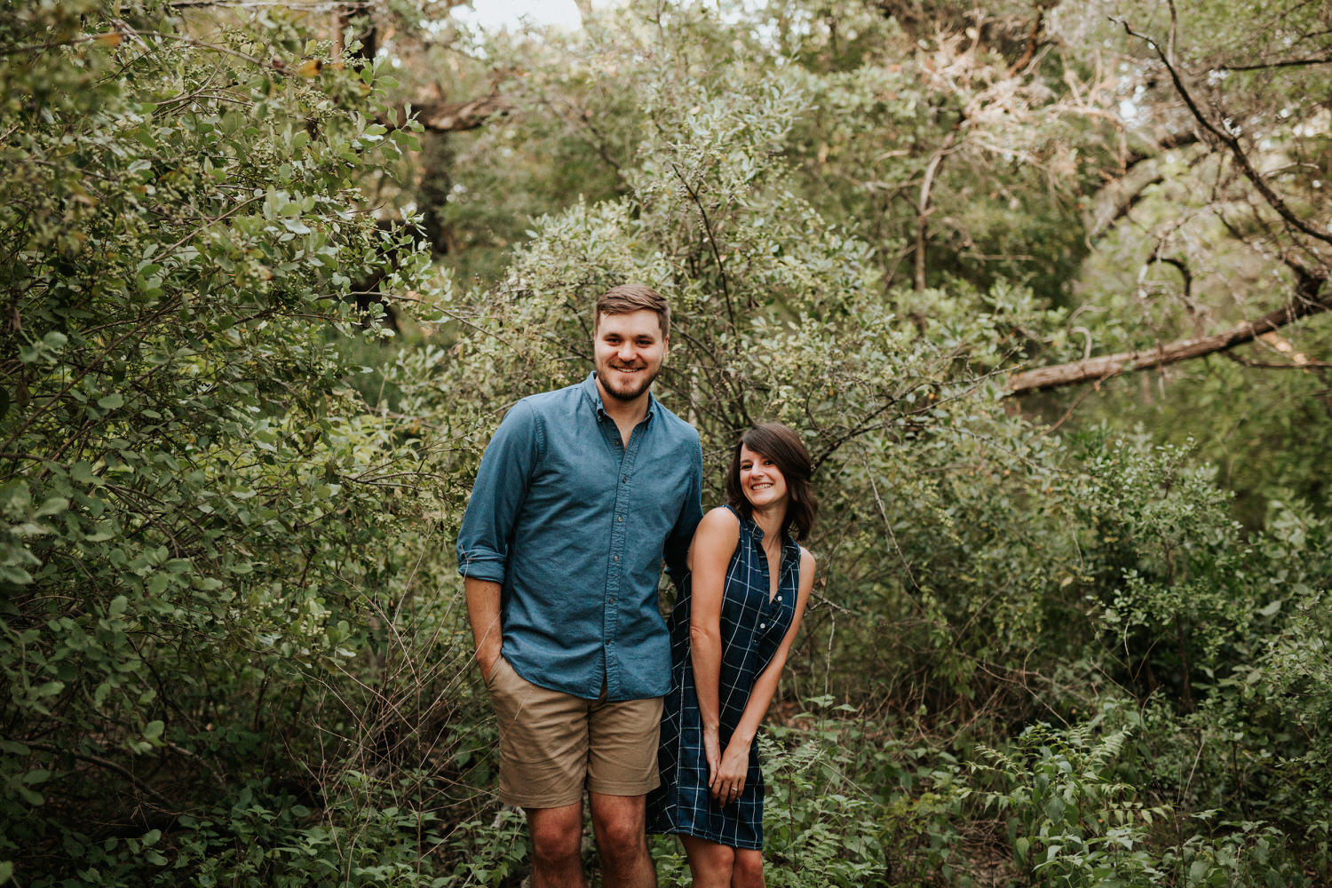 Happy engaged couple at Mayfield Park in Austin