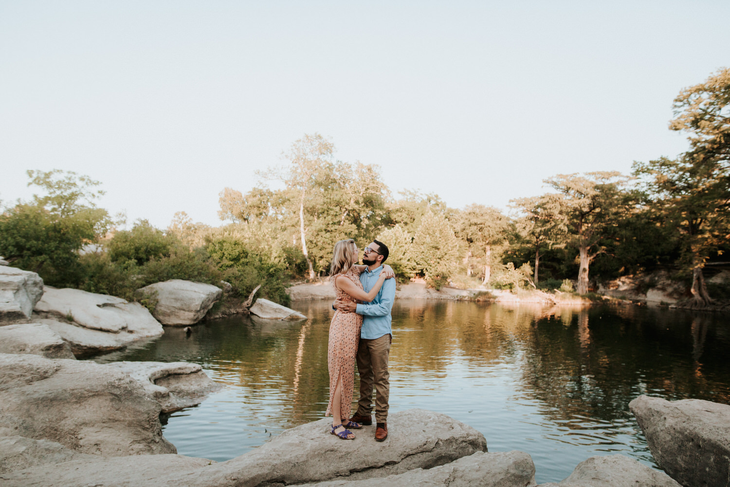 Engaged couple at McKinney Falls State Park