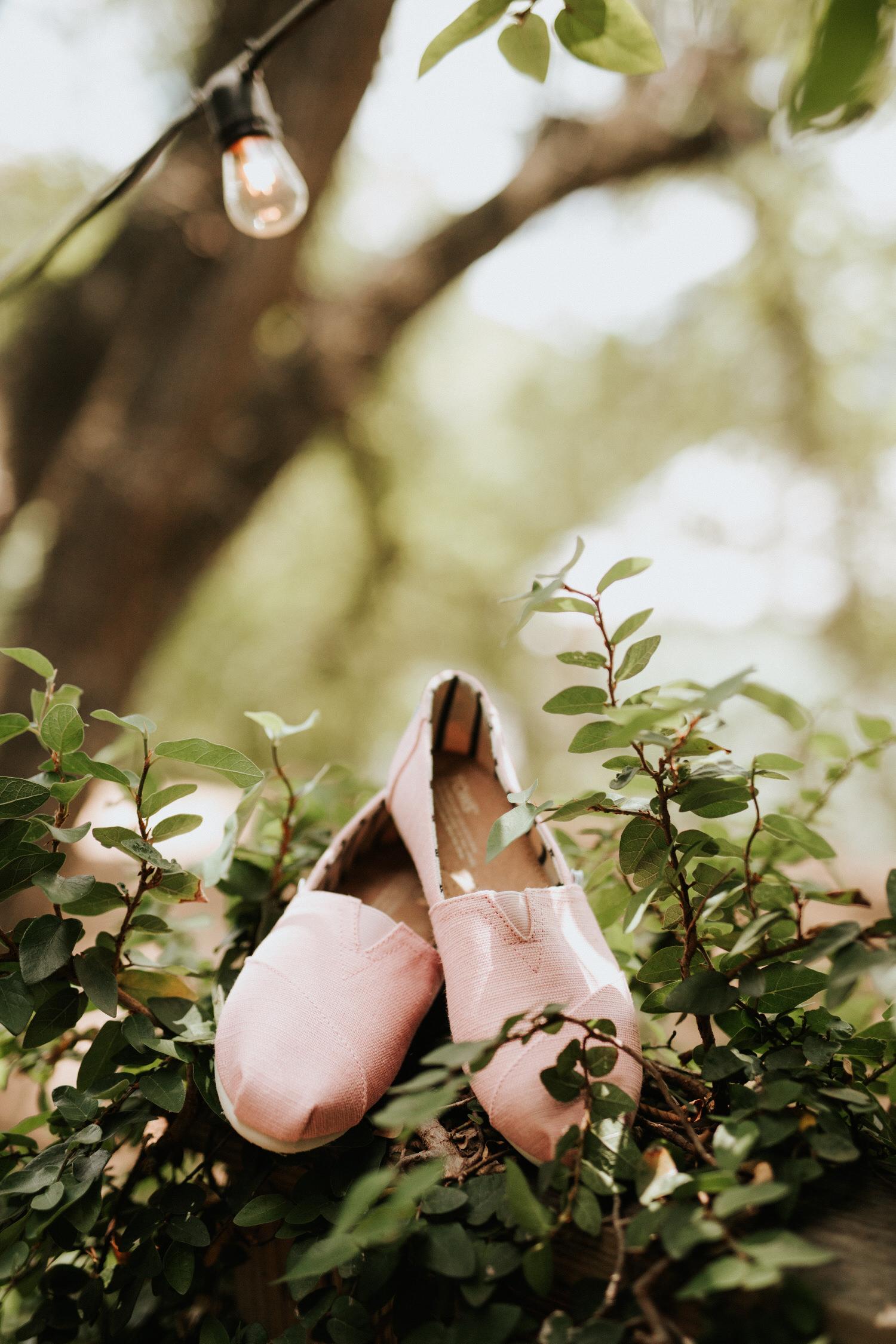 Bride's wedding shoes at The Sanctuary Austin