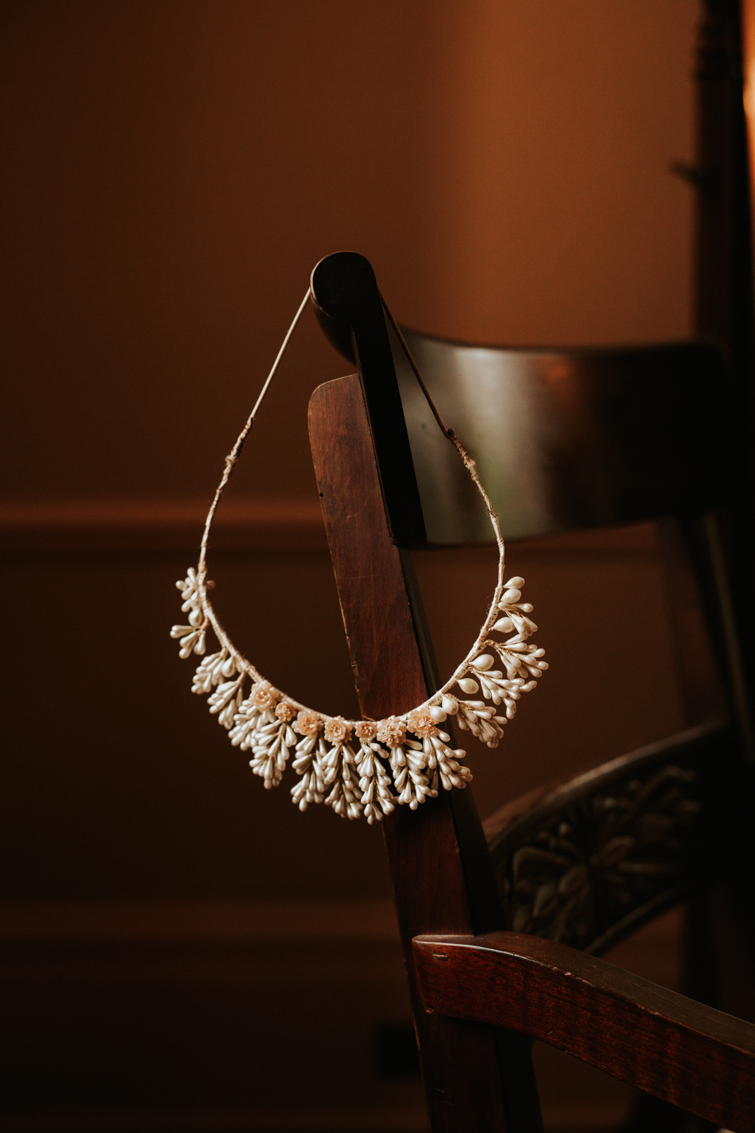 Bride's necklace at Eolia Mansion glamour wedding