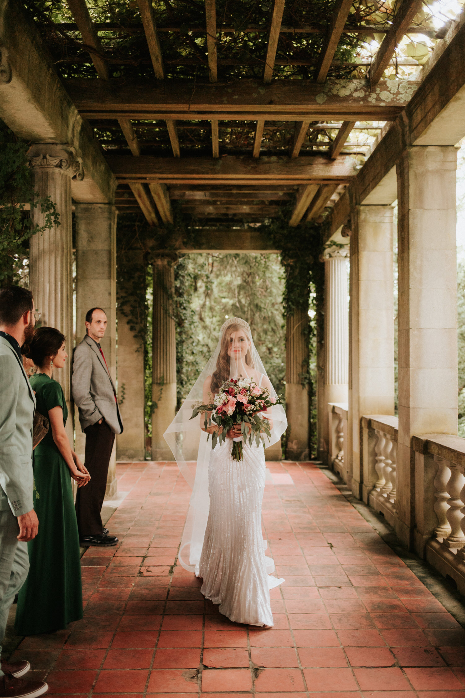Bride at Eolia Mansion glamour wedding ceremony