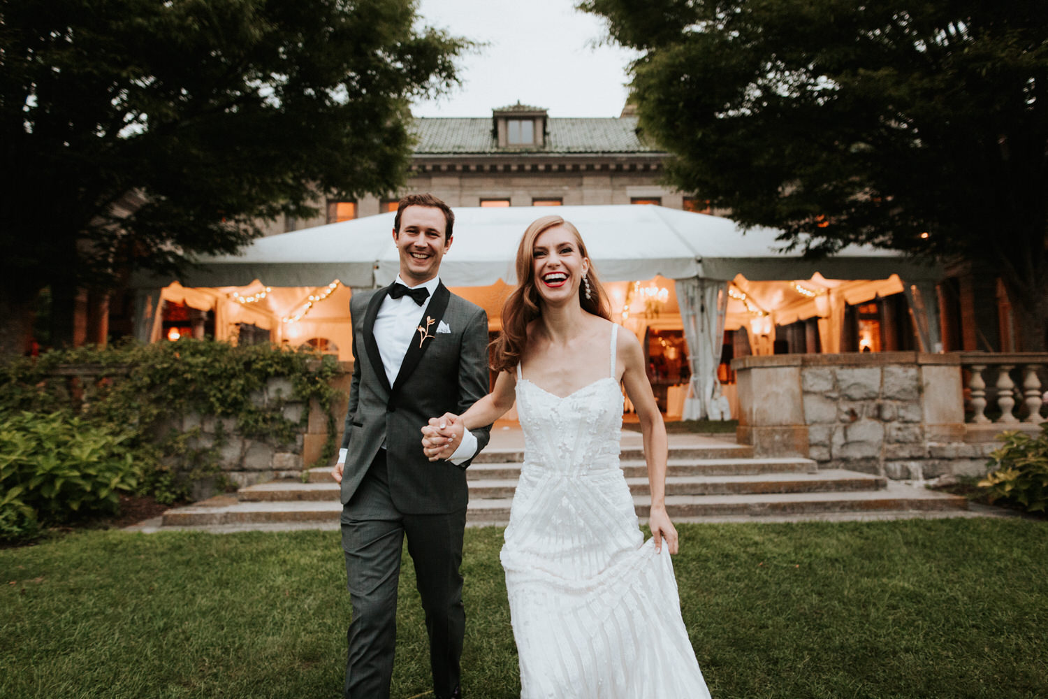 Bride and groom at Eolia Mansion Wedding