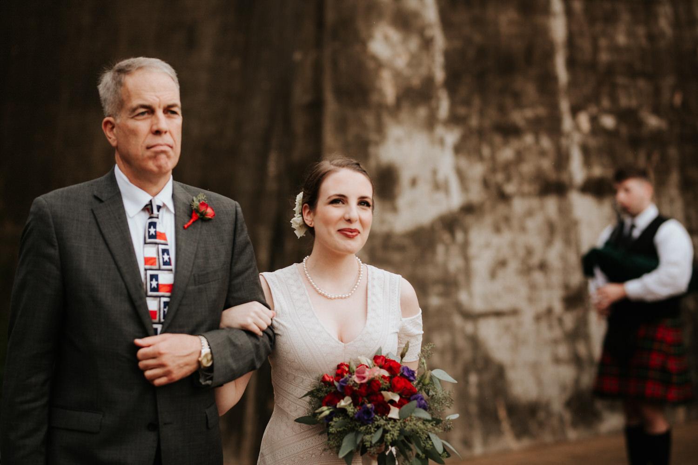 Bride walking down aisle at San Antonio Botanical Garden Wedding