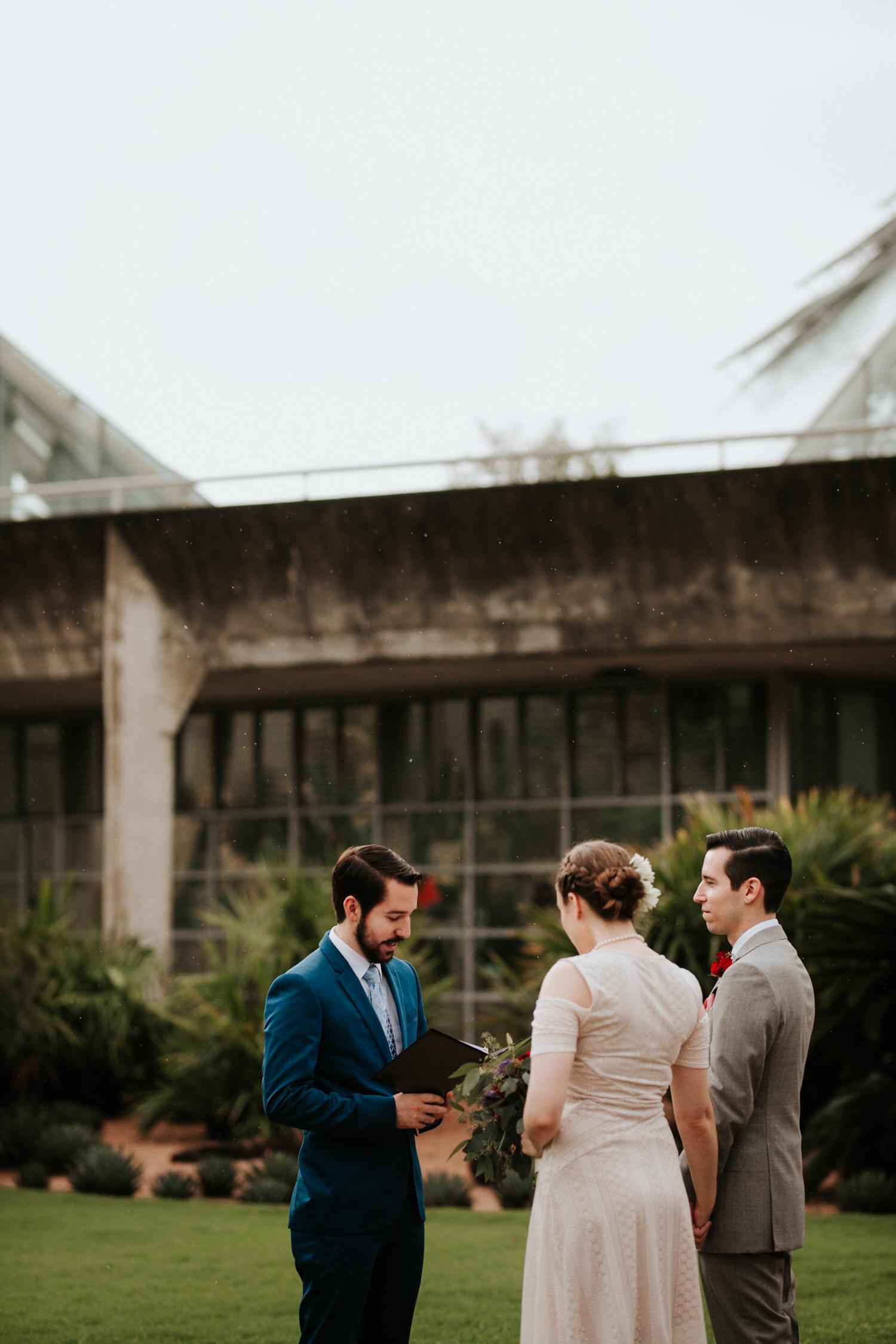 Couple getting married at San Antonio Botanical Garden Wedding