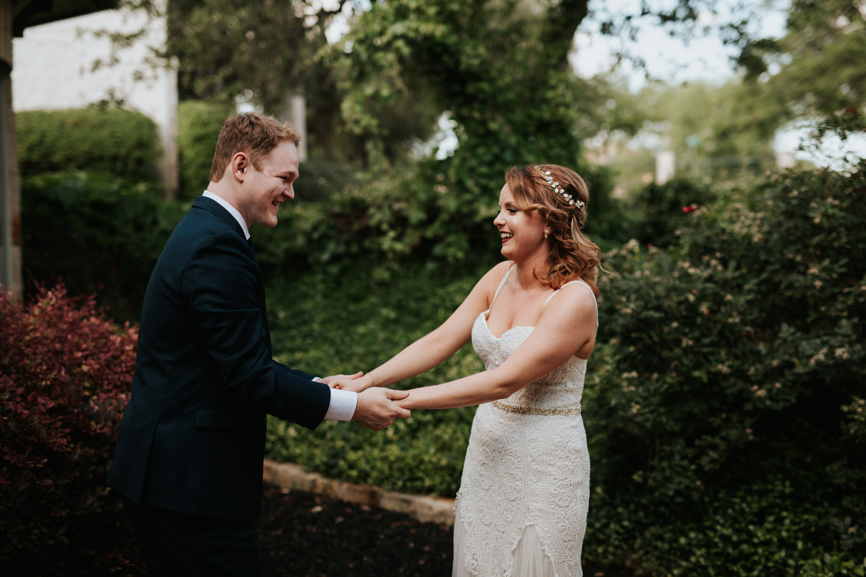 Austin luxury backyard wedding first look photos
