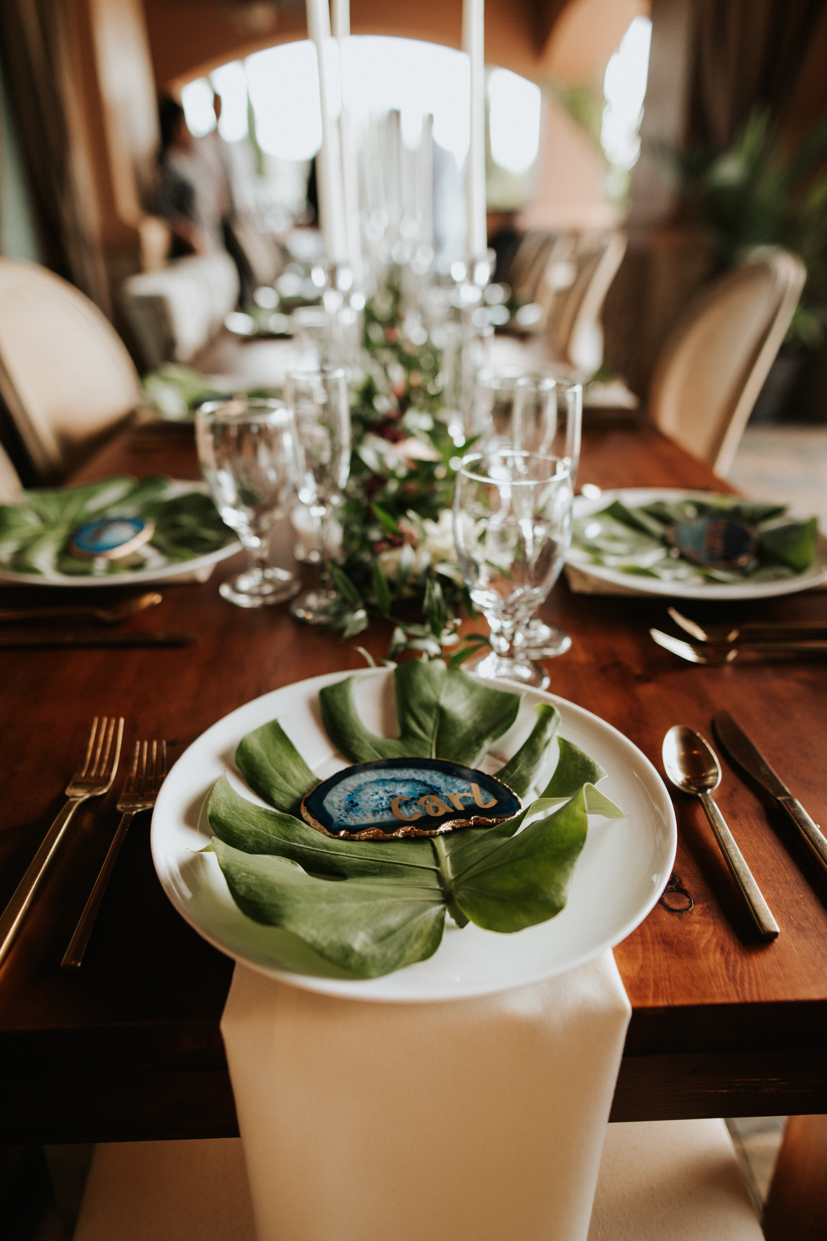 Austin luxury backyard wedding place setting
