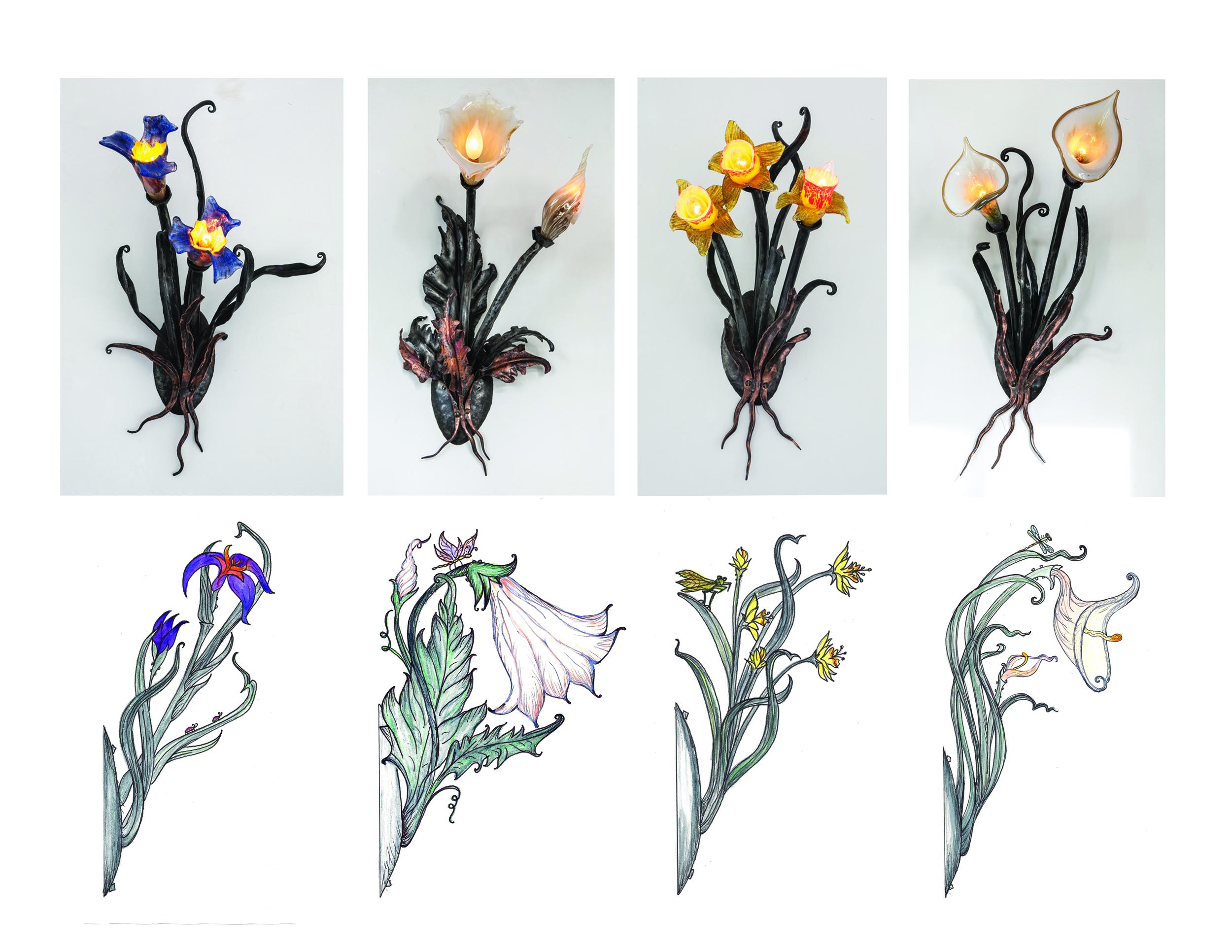 Fleury Sconces, 2013 (detail + original sketches)